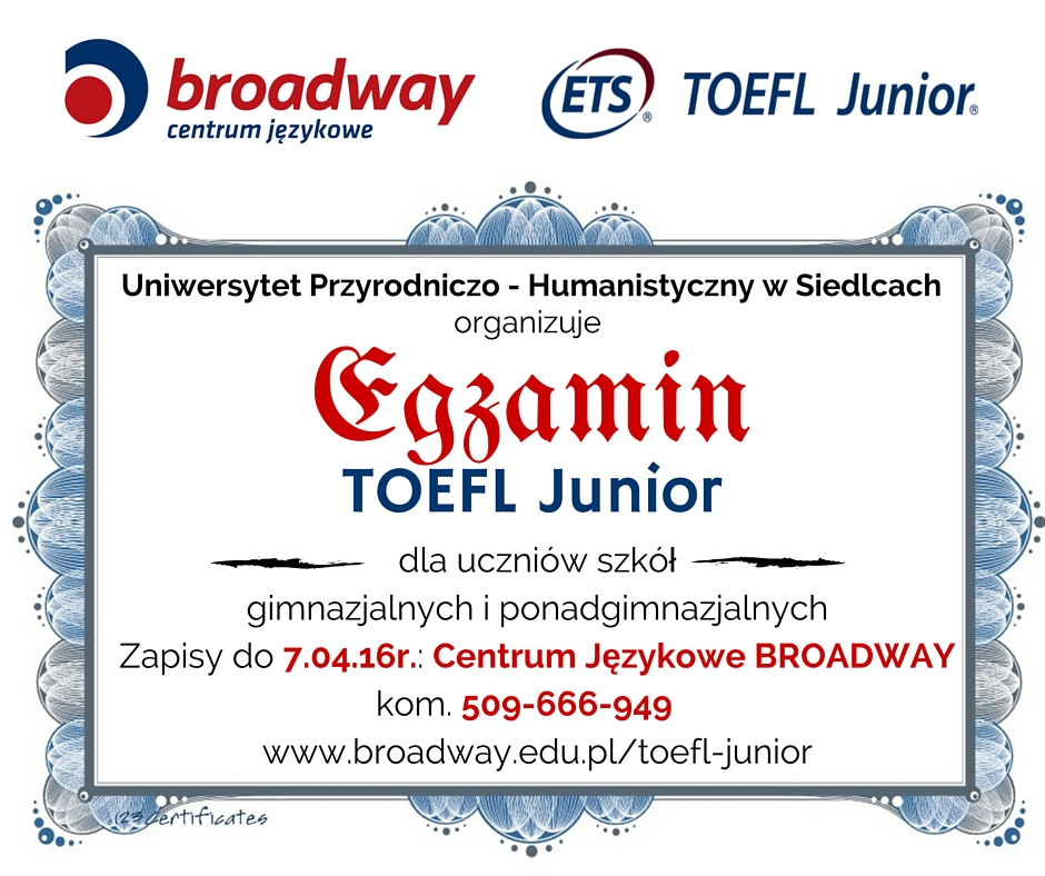 TOEFL Junior - plakat